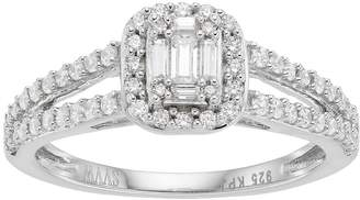 Vera Wang Simply Vera 14k White Gold 1/2 Carat T.W. Diamond Cluster Halo Engagement Ring