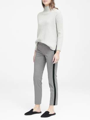 Banana Republic Petite Avery Straight-Fit Herringbone Ankle Pant with Velvet Side-Stripe