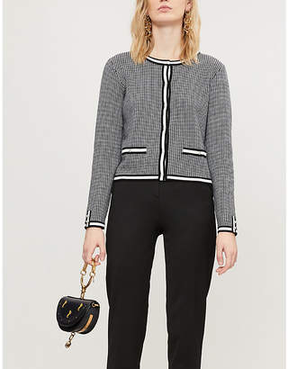 Claudie Pierlot Maxypink houndstooth-patterned knitted cardigan
