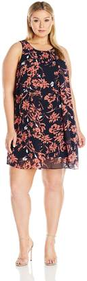 MSK Women's Plus Size Woven Floral Trapeze Dress, Navy/Coral, 24W