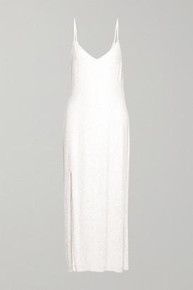 retrofete Rebecca Sequined Chiffon Gown - White