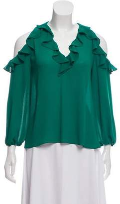 Alice + Olivia Ruffle Accent Cold Shoulder Top