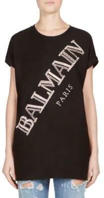 Balmain Crystal-Embellished Diagonal Logo Tee