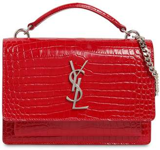 Saint Laurent Small Sunset Croc Embossed Leather Bag