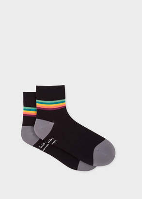 Paul Smith Mens Black Artist Stripe Trim Cycling Socks