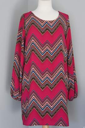 Sage Geometric Chevron Dress