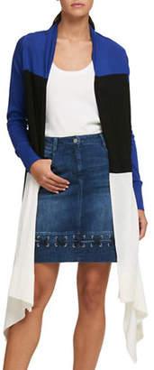 DKNY Asymmetric Colourblock Cardigan
