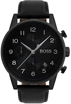 BOSS Navigator Black Chronograph Leather Strap Watch