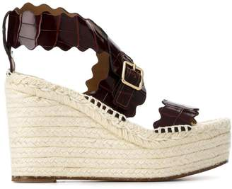 Chloé crocodile-embossed wedge sandals