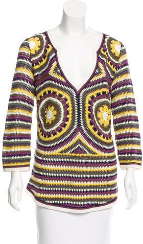 Tory BurchTory Burch Long Sleeve Crochet Tunic