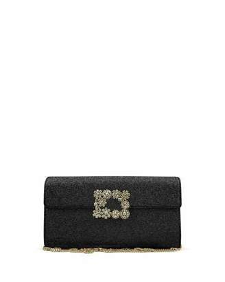 Roger Vivier Envelope Flap Sexy Clutch Bag, Black