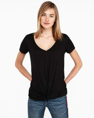 Express One Eleven Twist Front V-Neck Slim Tee