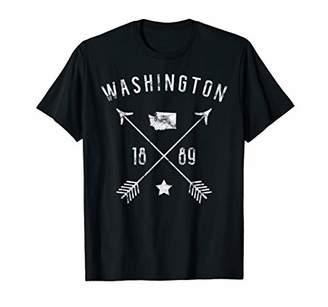 Washington Retro Vintage Home State Map Distressed Arrows T-Shirt