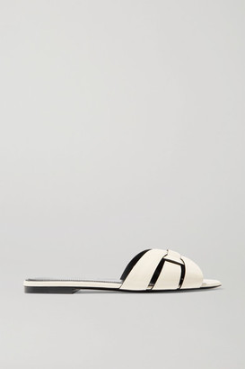 Saint Laurent Nu Pieds Woven Patent-leather Slides - White