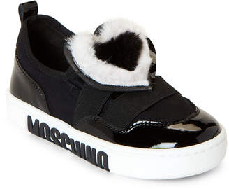 Moschino Toddler/Kids Girls) Black Faux Fur Heart Slip-On Sneakers