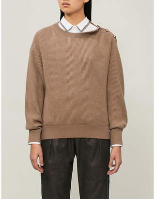 Brunello Cucinelli Button-detail ribbed cashmere jumper