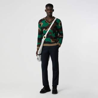Burberry Camouflage Intarsia Cotton Blend Sweater