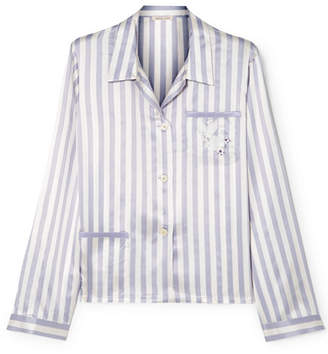 00fd649663330 Amanda Fatherazi Morgan Lane Ruthie Appliquéd Striped Silk-charmeuse Pajama  Shirt - Lilac