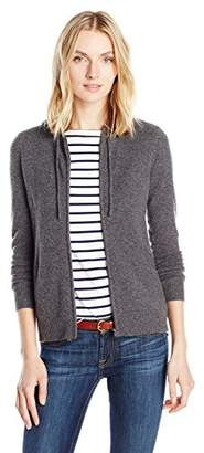 Sofia Cashmere Women's Cashmere Hi Lo Hoodie with Rib Detail