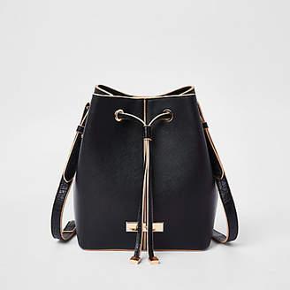 River Island Black faux leather drawstring duffle bag