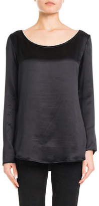 Redemption Boat-Neck Long-Sleeve Silk Satin Shirt