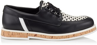 Jimmy Choo FINN Black and White Sport Calf Boat Shoes with Woven Mix