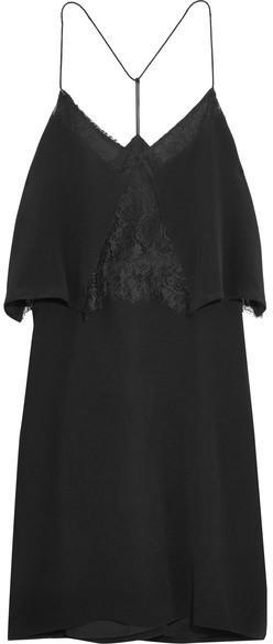 Madewell - Lace-trimmed Silk Crepe De Chine Mini Dress - Black