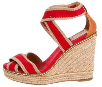 Tory Burch Striped Espadrille Wedges