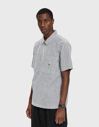 Stussy Half Zip Seersucker Shirt in Black Stripe