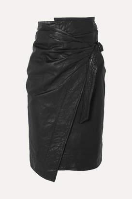 Etoile Isabel Marant Ayeni Gathered Leather Wrap Skirt - Black