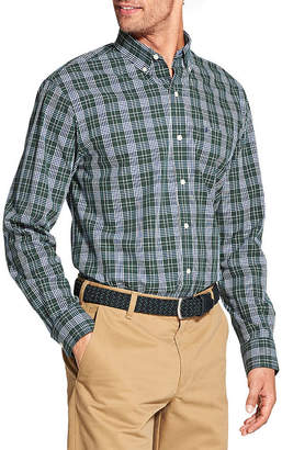 Izod Premium Essential Wovens Mens Long Sleeve Plaid Button-Front Shirt-Big and Tall