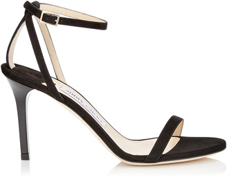 Jimmy Choo MINNY 85 Black Suede Sandals