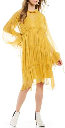 Style Mafia Sorro Chiffon Balloon Sleeve Ruffle Tiered Victorian Midi Dress