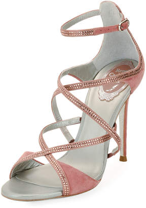 Rene Caovilla Crisscross Crystal Suede Sandals, Rose