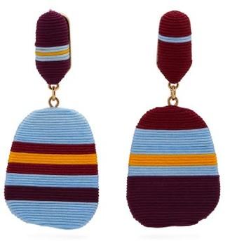Maryjane Claverol - Freja Striped Clip Earrings - Womens - Burgundy