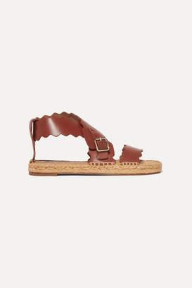 Chloé Lauren Scalloped Leather Espadrille Sandals - Brown