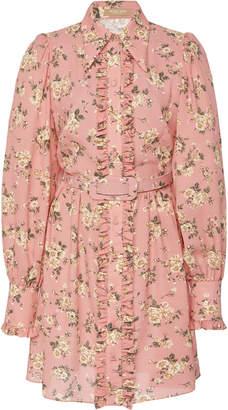 Michael Kors Puff Sleeve Silk Mini Shirt Dress