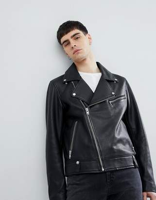 Weekday Leather Jacket In Black