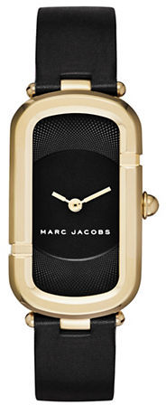 Marc Jacobs Marc Jacobs Monogram Goldtone Stainless Steel Guilloche Dial Leather Strap Watch, JMC39IPGBLKSTPB