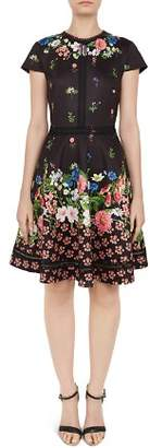 Ted Baker Daissie Lace-Trimmed Floral Dress