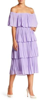 Just Me Off-the-Shoulder Pleated Dress