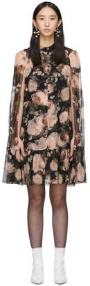 Erdem Black and Pink Constantine Cape Dress