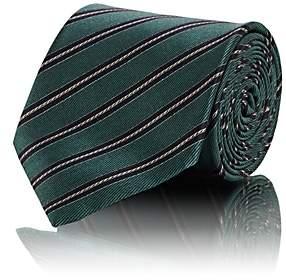 Brioni Men's Striped Silk Satin Necktie - Green