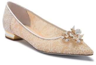 Rene Caovilla Crystal and Pearl Flower Ballerina Flat