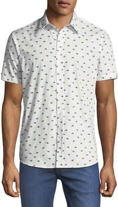 Ben Sherman Men's Peacock Feather Short-Sleeve Sport Shirt