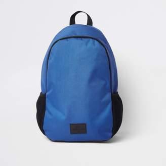 River Island Mens Blue double zip compartment rucksack
