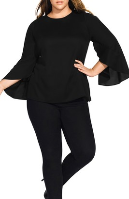 City Chic Romance Me Split Bell Sleeve Top