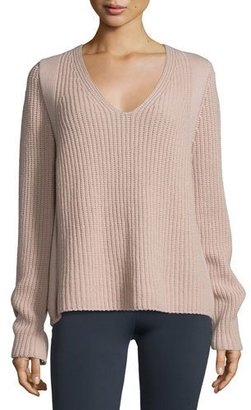 Helmut Lang Ribbed V-Neck Pullover Sweater, Dust $395 thestylecure.com
