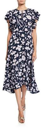 Kate Spade Splash Floral Keyhole Flutter-Sleeve Midi Dress