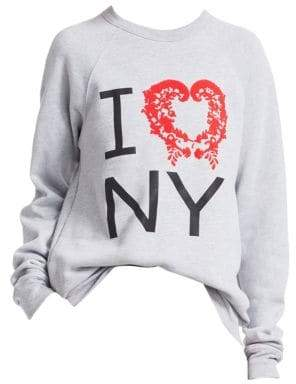 Rosie Assoulin Women's Flock I Love NY Oversized Sweatshirt - Grey - Size XS